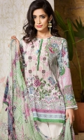 Chiffon Dupatta: 2.5 Meter Shirt front Printed: 1.2 Meter Back Printed: 1.2 Meter Sleeves Printed: 0.6 Meter Dyed Pant: 2.5 Meter One Embroidered Neckline Front Embroidered Border: 0.7 Meter