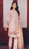 Printed Shirt: 2.9 M Dyed Pants: 2.5 M Printed Chiffon Dupatta: 2.5 M Embroidered Neckline: 1 Pc  Embroidered Pants Border: 1 M
