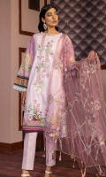 Printed Shirt: 2.9 M Dyed Pants: 2.5 M Embroidered Poly Net Dupatta: 2.5 M Embroidered Neckline: 1 Pc