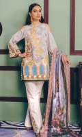 Printed Shirt: 2.9 M Dyed Pants: 2.5 M Printed Poly Net Dupatta: 2.5 M Embroidered Neckline: 1 Pc  Embroidered Pants Motifs: 2 Pc