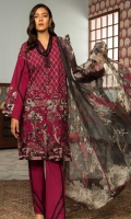Embroidered Front: 1 M Dyed Back & Sleeves: 1.7 M Dyed Pants: 2.5 M Printed Chiffon Dupatta: 2.5 M Embroidered Neckline Patti: 0.6 M Embroidered Sleeves Motifs: 2 Pc