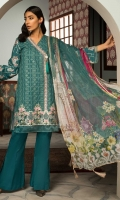 Embroidered Front: 1 M Embroidered Sleeves: 0.6 M Dyed Back: 1 M Dyed Pants: 2.5 M Printed Chiffon Dupatta: 2.5 M Embroidered Neckline Patti: 0.6 M Embroidered Front Border: 0.6 M