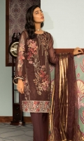 Embroidered Organza Jacquard Front: 1 M Dyed Organza Jacquard Back&sleeves: 1.7 M Dyed Pants: 2.5 M Dyed Inner: 2.5 M Dyed Organza Jacquard Dupatta: 2.5 M Embroidered Sleeves Motifs: 2 Pc Embroidered Front Border: 0.6 M