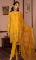 Embroidered Chiffon Front 1 M Dyed Chiffon Back & sleeves: 1.7 M Dyed Pants: 2.5 M Dyed Inner: 2.5 M Embroidered Chiffon Dupatta: 2.5 M Embroidered Sleeve Motifs: 2 Pc