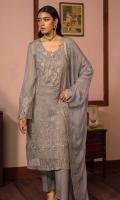 Embroidered Chiffon Front: 1 M Dyed Chiffon Back & Sleeves: 1.7 M Dyed Pants: 2.5 M Dyed Inner: 2.5 M Embroidered Chiffon Dupatta: 2.5 M Embroidered Sleeve Border: 0.8 M