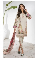 Chiffon Printed Dupatta: 2.5 M Lawn Front Printed: 1.1 M Lawn Back Printed: 1.1 M Lawn Sleeves Printed: 0.6 M Dyed Pants: 2.5 M Embroidered Neckline Patti: 0.8 M Embroidered Front Border: 0.6 M Embroidered Pant Motifs: 2 Pc