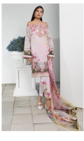 Silk Printed Dupatta: 2.5 M Lawn Front Printed: 1.1 M Lawn Back Printed: 1.1 M Lawn Sleeves Printed: 0.6 M Dyed Pants: 2.5 M Embroidered Neckline: 1 Pc Embroidered Front Border: 0.6 M Embroidered Pant Motifs: 2 Pc
