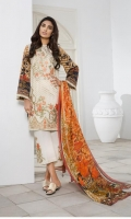 Silk Printed Dupatta: 2.5 M Lawn Embroidered Front: 1.1 M Lawn Back Printed: 1.1 M Lawn Sleeves Printed: 0.6 M Dyed Pants: 2.5 M Emroidered Front Border: 0.6 M Embroidered Neckline Patti: 0.8 M Embroidered Pant Motifs: 2 Pc