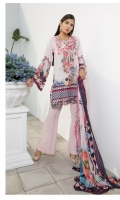 Silk Printed Dupatta: 2.5 M Lawn Texture Front Printed: 1.1 M Lawn Texture Back Printed: 1.1 M Lawn Texture Sleeves Printed: 0.6 M Dyed Pants: 2.5 M Emroidered Front Border: 0.6 M Emroidered Pant Border: 1.0 M Embroidered Neckline: 1 Pc Embroidered Pant Motifs: 2 Pc