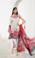 Chiffon Printed Dupatta: 2.5 M Lawn Front Printed: 1.1 M Lawn Back Printed: 1.1 M Lawn Sleeves Printed: 0.6 M Dyed Pants: 2.5 M Embroidered Neckline Patti: 0.8 M Embroidered Front Border: 0.6 M