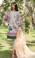 Printed Shirt: 2.9 M Dyed Pants: 2.5 M Embroidered Net Dupatta: 2.5 M Embroidered Neckline Motif: 1 Pc