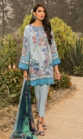 Printed Shirt: 2.9 M Dyed Pants: 2.5 M Printed Chiffon Dupatta: 2.5 M Embroidered Neckline: 1 Pc Embroidered Pant Motifs: 2 Pc