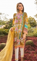 Printed Shirt: 2.9 M Dyed Pants: 2.5 M Embroidered Net Dupatta: 2.5 M Embroidered Neckline: 1 Pc