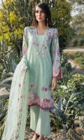Printed Shirt: 2.9 M Dyed Pants: 2.5 M Embroidered Net Dupatta: 2.5 M Embroidered Neckline Patti: 0.8 M Embroidered Front Motif: 1 Pc