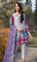 Printed Shirt: 2.9 M Dyed Pants: 2.5 M Embroidered Net Dupatta: 2.5 M Embroidered Neckline Patti: 0.8 M