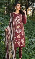 Embroidered Front: 1 M Dyed Back: 1 M Dyed Sleeves: 0.6 M Printed Chiffon Dupatta: 2.5 M Dyed Pants: 2.5 M Embroidered Sleeves Motifs: 2 Pc Embroidered Pants Motifs: 2 Pc