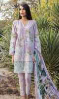 Embroidered Front: 1 M Dyed Back: 1 M Dyed Sleeves: 0.6 M Dyed Pants: 2.5 M Printed Chiffon Dupatta: 2.5 M Embroidered Sleeves Motifs: 2 Pc Embroidered Pant Motifs: 2 Pc Embroidered Front Border: 0.6 M