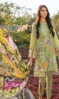 Embroidered Front: 1 M Dyed Back: 1 M Dyed Sleeves: 0.6 M Dyed Pants: 2.5 M Printed Chiffon Dupatta: 2.5 M Embroidered Pants Motifs: 2 Pc Embroidered Front Border: 0.6 M Embroidered Sleeves Border: 0.8 M