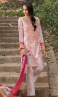Printed Shirt: 2.9 M Dyed Pants: 2.5 M Printed Chiffon Dupatta: 2.5 M Embroidered Neckline: 1 Pc Embroidered Pants Motifs: 2 Pc