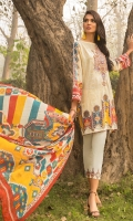 Printed Shirt: 2.9 M Dyed Pants: 2.5 M Printed Chiffon Dupatta: 2.5 M Embroidered Neckline: 1 Pc Embroidered Pants Border: 0.8 M
