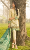 Printed Shirt: 2.9 M Lawn Printed Dupatta: 2.5 M Embroidered Neckline Patti on Fabric : 1 Pc Embroidered Front Border : 0.6 M