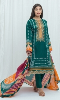 2.9 Mtrs Printed Lawn Shirt With Embroidery 0.7 Mtrs Embroidered Border 2.5 Mtrs Printed Lawn Dupatta