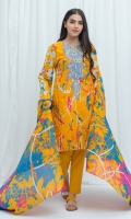 2.9 Mtrs Printed Lawn Shirt With Embroidery 2.5 Mtrs Printed Lawn Dupatta