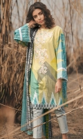 Printed Shirt: 2.9 M Printed Lawn Dupatta: 2.5 M Embroidered Neckline: 1 Pc