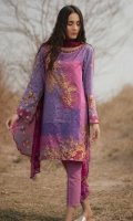 Printed Shirt: 2.9 M Printed Chiffon Dupatta: 2.5 M Dyed Pants: 2.5 M Embroidered Front Motifs: 2 Pc