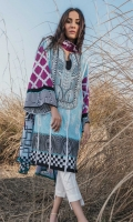 Printed Shirt: 2.9 M Printed Lawn Dupatta: 2.5 M Dyed Pants: 2.5 M Embroidered Neckline: 1 Pc Embroidered Pants Motifs: 2 Pc