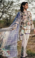 Printed Shirt: 2.9 M Printed Chiffon Dupatta: 2.5 M Dyed Pants: 2.5 M Embroidered Neckline: 1 Pc  Embroidered Pants Motifs: 2 Pc