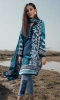 Printed Shirt: 2.9 M Printed Lawn Dupatta: 2.5 M Dyed Pants: 2.5 M Embroidered Neckline Patti: 0.6 M Embroidered Pants Motifs: 2 Pc