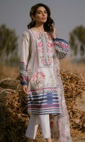 Printed Shirt: 2.9 M Embroidered Net Dupatta: 2.5 M Dyed Pants 2.5 M Embroidered Neckline: 1 Pc
