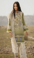 Printed Shirt: 2.9 M Embroidered Net Dupatta: 2.5 M Dyed Pants: 2.5 M Embroidered Neckline: 1 Pc