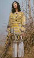 Printed Shirt: 2.9 M Printed Lawn Dupatta: 2.5 M Embroidered Neckline Patti: 0.6 M