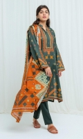 Printed Lawn Shirt: Illustrating Multi-Colored Geometric Pattern Over Front Panel, Sleeves And Back 2.9M Printed Lawn Dupatta: 2.9M