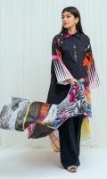 Digital Printed Lawn Shirt: 2.9 M Digital Printed Blended Chiffon Dupatta: 2.5 M Dyed Pants: 2.5 M
