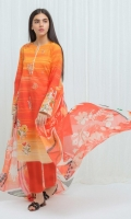 Digital Printed Lawn Shirt With Embroidery: 2.9 M Digital Printed Blended Chiffon Dupatta: 2.5 M Dyed Pants: 2.5 M