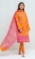 Gold Printed Lawn Shirt With Embroidery: 2.9 M Printed Blended Chiffon Dupatta: 2.5 M Dyed Pant: 2.5 M