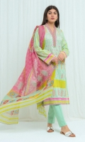 Printed Lawn Shirt With Embroidery: 2.9 M Printed Blended Chiffon Dupatta: 2.5 M Embroidered Neck Line Patti: 0.7 M Dyed Pant: 2.5 M