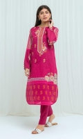 Printed Lawn Shirt With Embroidery: 2.9M Dyed Pant: 2.5 M