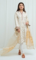 Gold Screen Printed Lawn Front: 1.14 M Gold Screen Printed Lawn Sleeves: 0.5 M Dyed Lawn Back: 1.14 M Embroidered Neckline Patti: 0.5 M Embroidered Border Patti: 0.8 M Organza Dupatta: 2.5 M Dyed Pants: 2.5 M