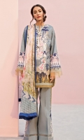 Printed Shirt: 2.5 M Printed Chiffon Dupatta: 2.5 M Dyed Pants: 2.5 M Embroidered Neckline: 1 Pc Embroidered Pants Motifs: 2 Pc