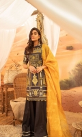Dyed Shirt Embroidered : 3M Organza Dupatta : 2.50M Dyed Trouser : 2.50M