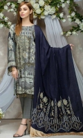 Twill Viscose Embroidered Front  Printed Back & Sleeves  Embroidered Viscose Shawl  Dyed Trouser