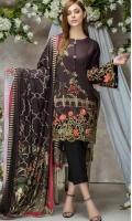 Twill Viscose Embroidered Front  Printed Back & Sleeves  Printed Viscose Shawl  Dyed Trouser