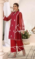 Julia is a deep red outfit enhanced with the finest white laces to bring out a sophisticated look. It has embroidered motifs in the center that grabs attention to the red pattern in the middle. Paired with it is a red matching trouser with laces to complement the shirt