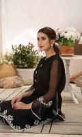This stunning black ensembe, Sophia is made on pure organza silk lawn with hand embroidery in muted tones is all you need for that perfect versatile outift in your wardrobe