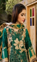 Three Piece Embroiodered Lawn Suit With Net Dupatta