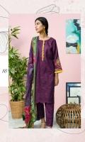 Embroidered Slub Lawn Crinkle Dupatta Plain Trouser